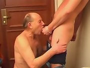 Old guy enjoys his ass being fucked by a young dick in the corridor
