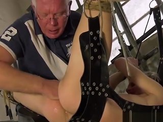 Suspended Young Sub Finger Stretched While His Cock Hardens